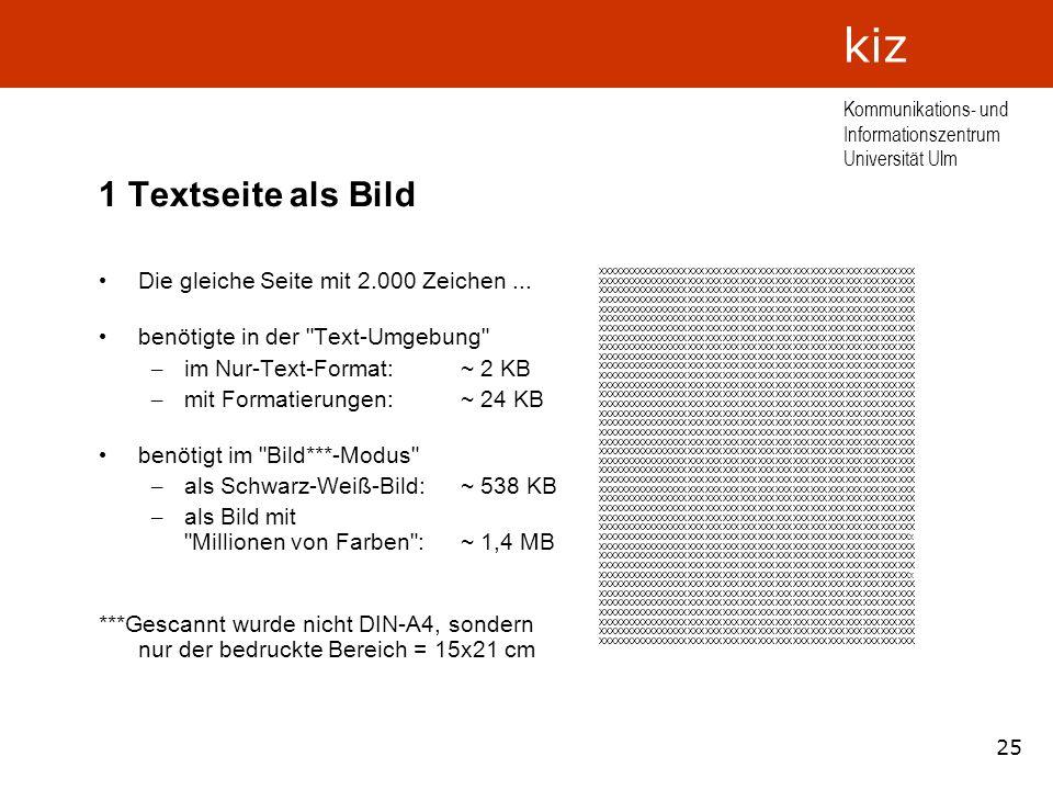 25 Kommunikations- und Informationszentrum Universität Ulm kiz 1 Textseite als Bild Die gleiche Seite mit 2.000 Zeichen... benötigte in der