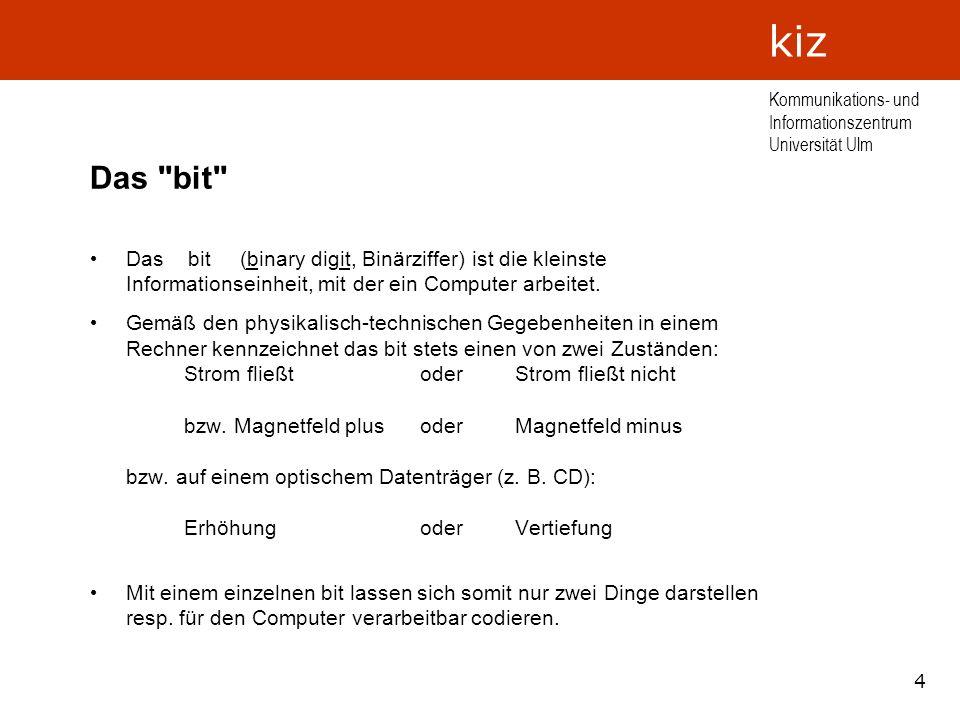 5 Kommunikations- und Informationszentrum Universität Ulm kiz Codiermöglichkeiten mit mehreren bits Um mehr als zwei Dinge zu codieren, benötigt man mehrere bits.