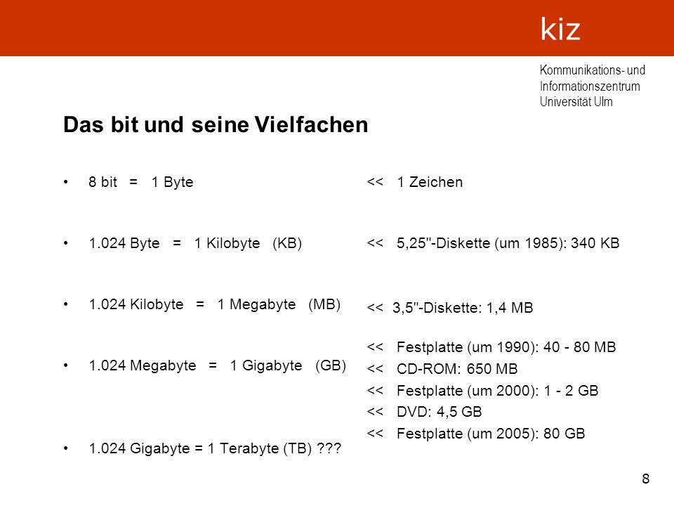 8 Kommunikations- und Informationszentrum Universität Ulm kiz Das bit und seine Vielfachen 8 bit = 1 Byte 1.024 Byte = 1 Kilobyte (KB) 1.024 Kilobyte