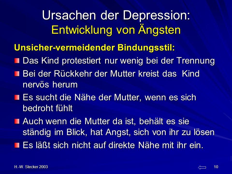 H.-W. Stecker 2003 10 Ursachen der Depression: Entwicklung von Ängsten Unsicher-vermeidender Bindungsstil: Das Kind protestiert nur wenig bei der Tren