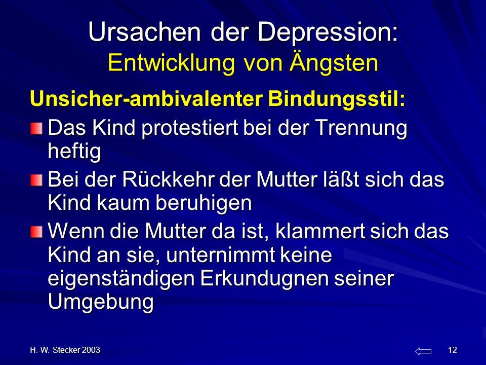 H.-W. Stecker 2003 12 Ursachen der Depression: Entwicklung von Ängsten Unsicher-ambivalenter Bindungsstil: Das Kind protestiert bei der Trennung hefti