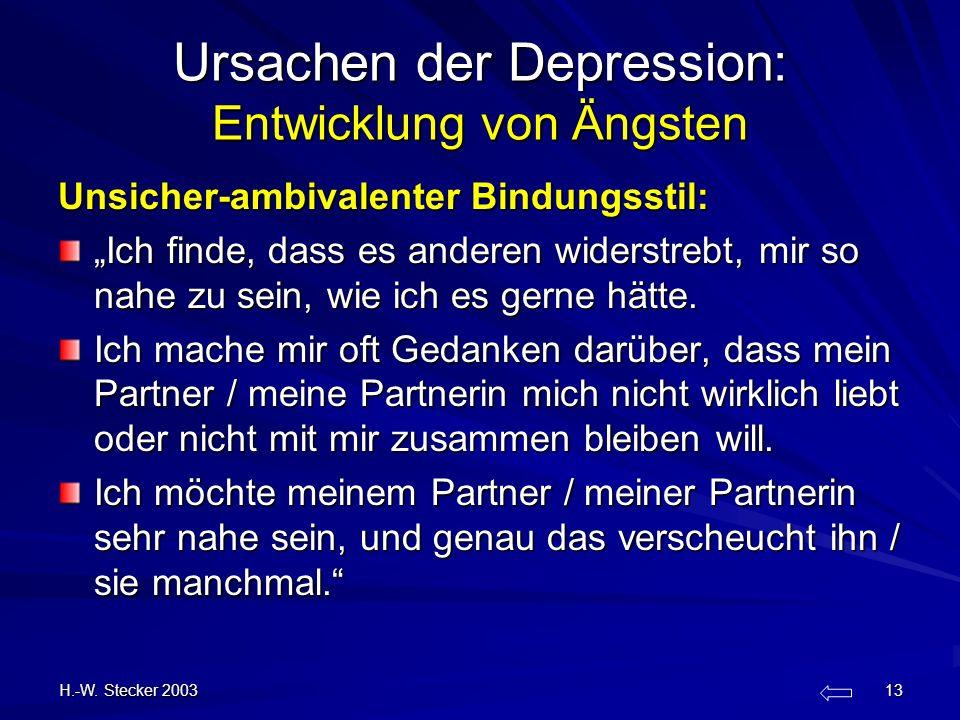 H.-W. Stecker 2003 13 Ursachen der Depression: Entwicklung von Ängsten Unsicher-ambivalenter Bindungsstil: Ich finde, dass es anderen widerstrebt, mir