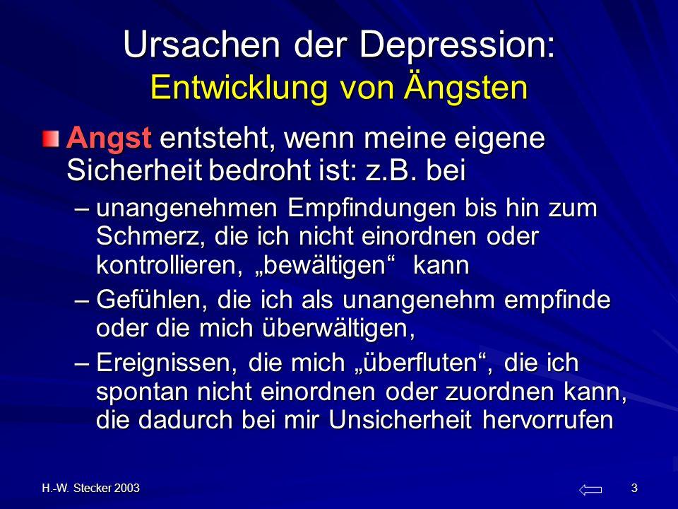 H.-W. Stecker 2003 3 Ursachen der Depression: Entwicklung von Ängsten Angst entsteht, wenn meine eigene Sicherheit bedroht ist: z.B. bei –unangenehmen