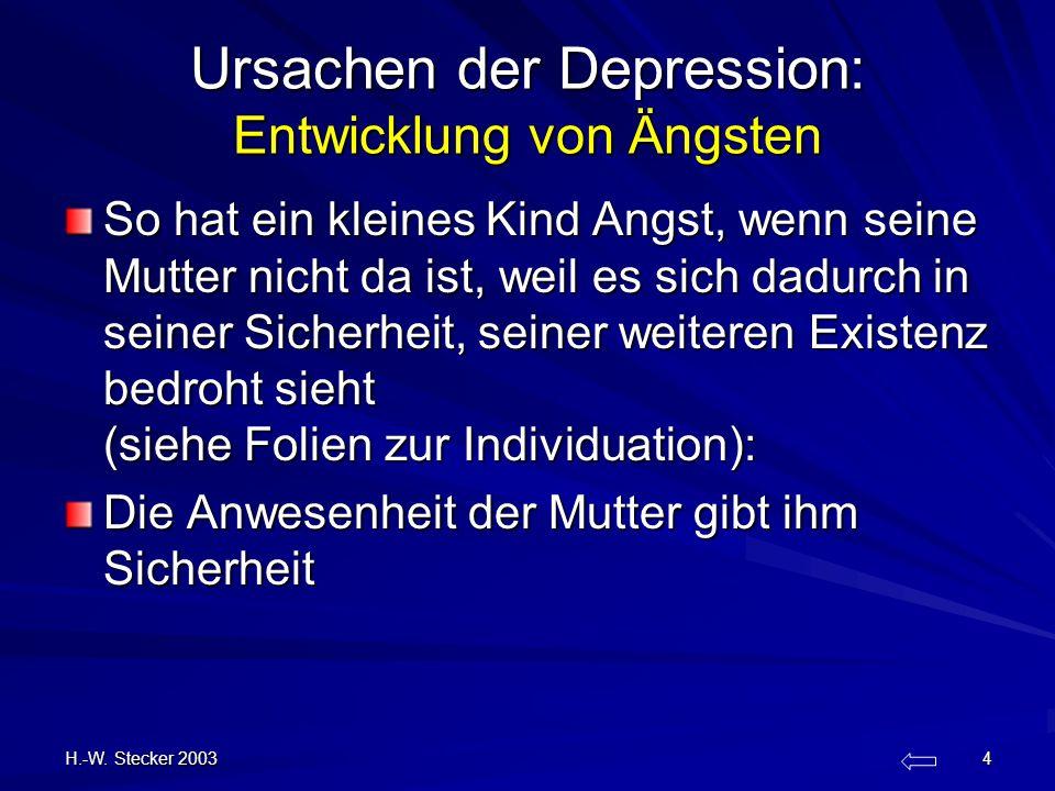 H.-W. Stecker 2003 4 Ursachen der Depression: Entwicklung von Ängsten So hat ein kleines Kind Angst, wenn seine Mutter nicht da ist, weil es sich dadu