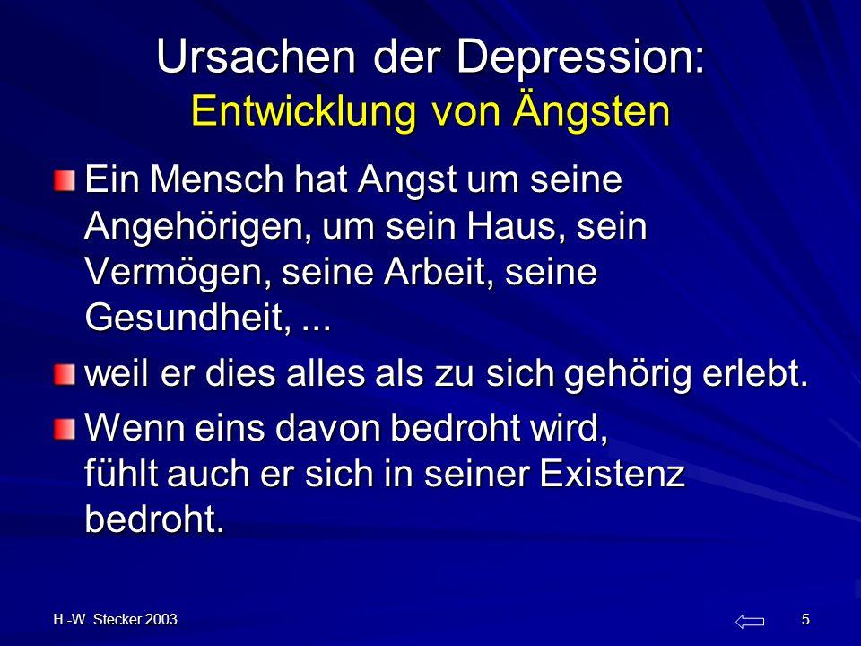 H.-W. Stecker 2003 5 Ursachen der Depression: Entwicklung von Ängsten Ein Mensch hat Angst um seine Angehörigen, um sein Haus, sein Vermögen, seine Ar