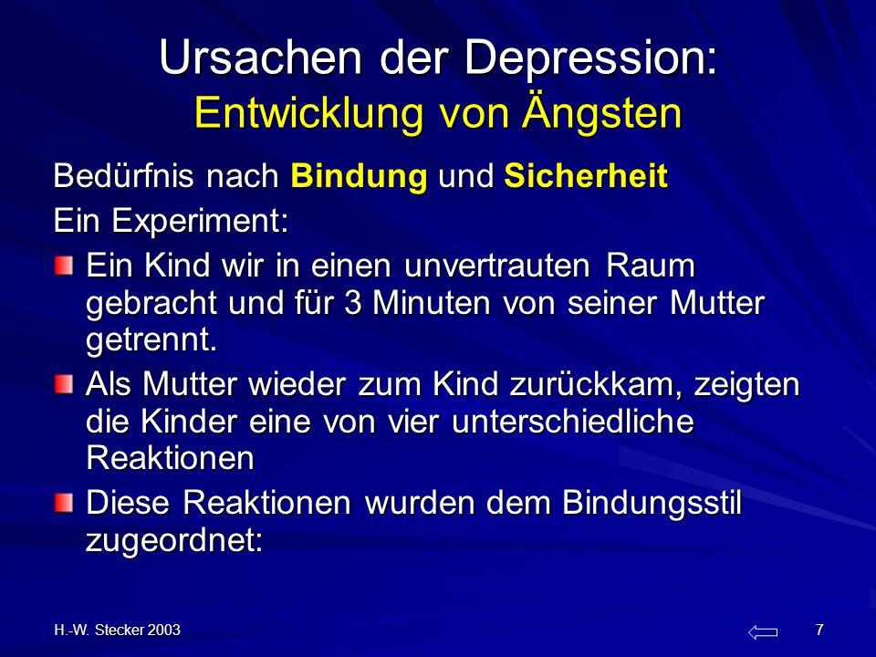 H.-W. Stecker 2003 7 Ursachen der Depression: Entwicklung von Ängsten Bedürfnis nach Bindung und Sicherheit Ein Experiment: Ein Kind wir in einen unve