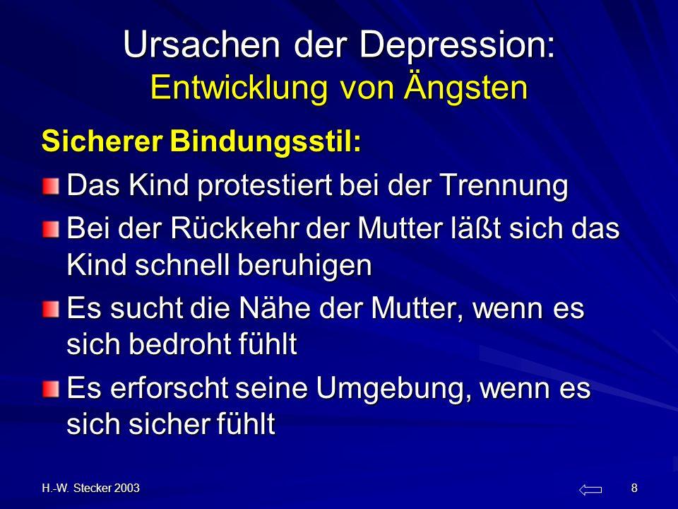 H.-W. Stecker 2003 8 Ursachen der Depression: Entwicklung von Ängsten Sicherer Bindungsstil: Das Kind protestiert bei der Trennung Bei der Rückkehr de
