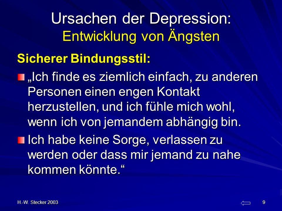 H.-W. Stecker 2003 9 Ursachen der Depression: Entwicklung von Ängsten Sicherer Bindungsstil: Ich finde es ziemlich einfach, zu anderen Personen einen