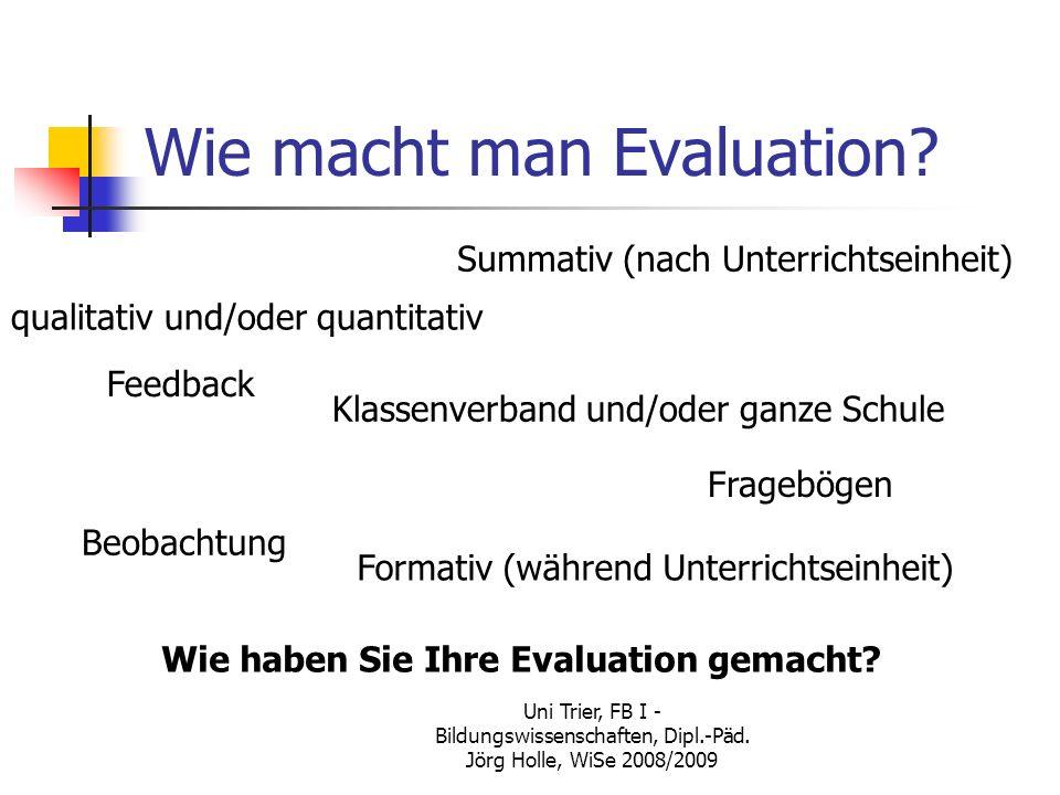 Uni Trier, FB I - Bildungswissenschaften, Dipl.-Päd. Jörg Holle, WiSe 2008/2009 Wie macht man Evaluation? Summativ (nach Unterrichtseinheit) Formativ