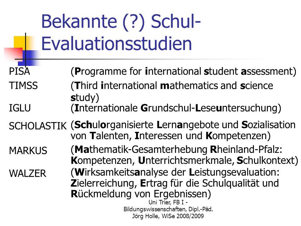 Uni Trier, FB I - Bildungswissenschaften, Dipl.-Päd. Jörg Holle, WiSe 2008/2009 Bekannte (?) Schul- Evaluationsstudien PISA(Programme for internationa