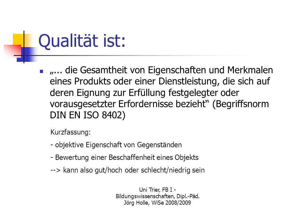 Uni Trier, FB I - Bildungswissenschaften, Dipl.-Päd. Jörg Holle, WiSe 2008/2009 Qualität ist:... die Gesamtheit von Eigenschaften und Merkmalen eines