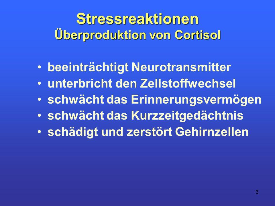 3 Stressreaktionen Überproduktion von Cortisol beeinträchtigt Neurotransmitter unterbricht den Zellstoffwechsel schwächt das Erinnerungsvermögen schwä