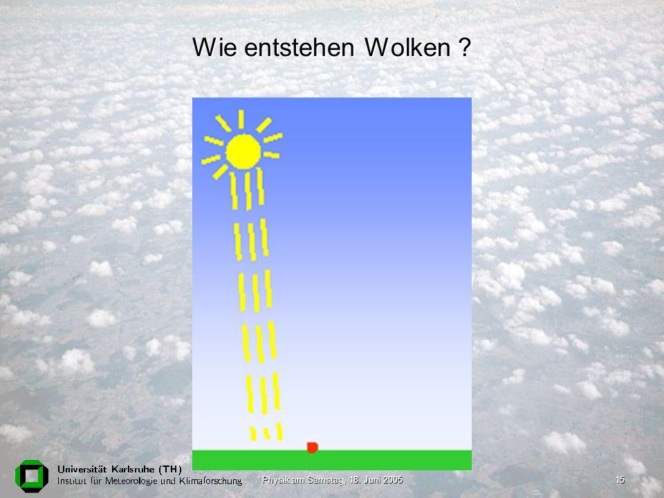Physik am Samstag, 18. Juni 200515 Wie entstehen Wolken ?