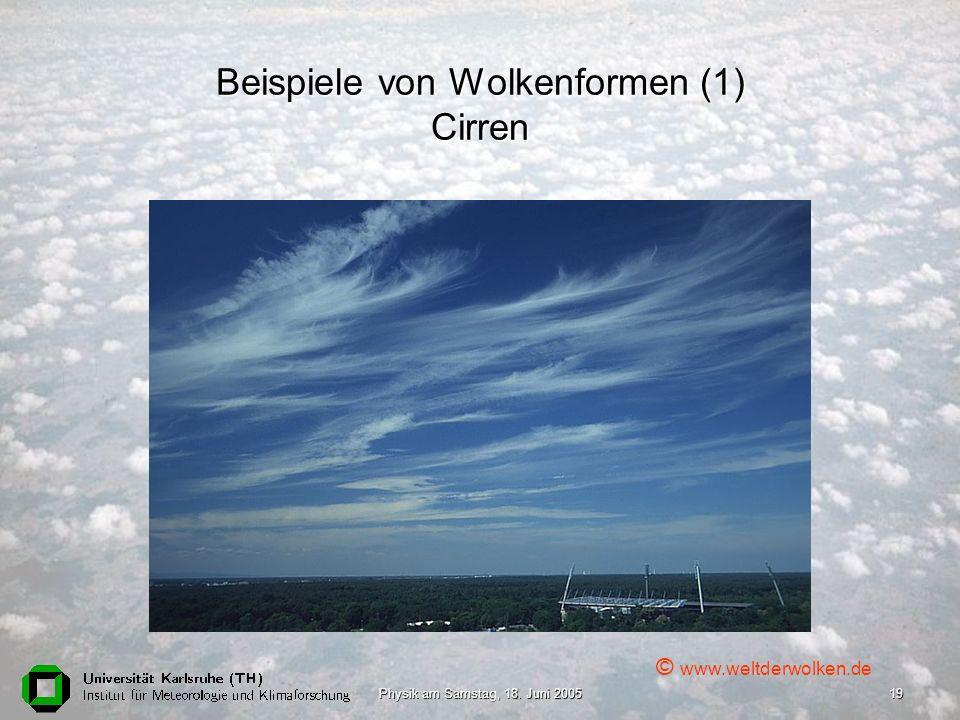 Physik am Samstag, 18. Juni 200519 Beispiele von Wolkenformen (1) Cirren © www.weltderwolken.de