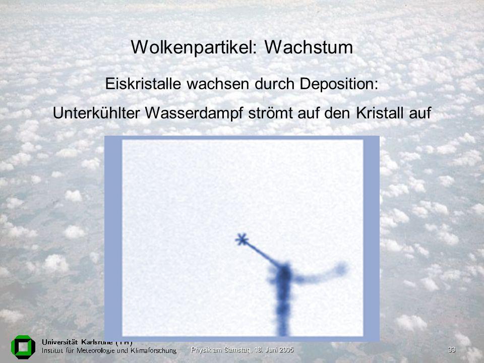 Physik am Samstag, 18. Juni 200533 Wolkenpartikel: Wachstum Eiskristalle wachsen durch Deposition: Unterkühlter Wasserdampf strömt auf den Kristall au
