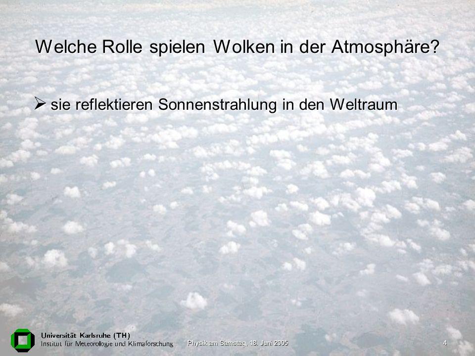 Physik am Samstag, 18. Juni 20054 Welche Rolle spielen Wolken in der Atmosphäre? sie reflektieren Sonnenstrahlung in den Weltraum sie reflektieren Son