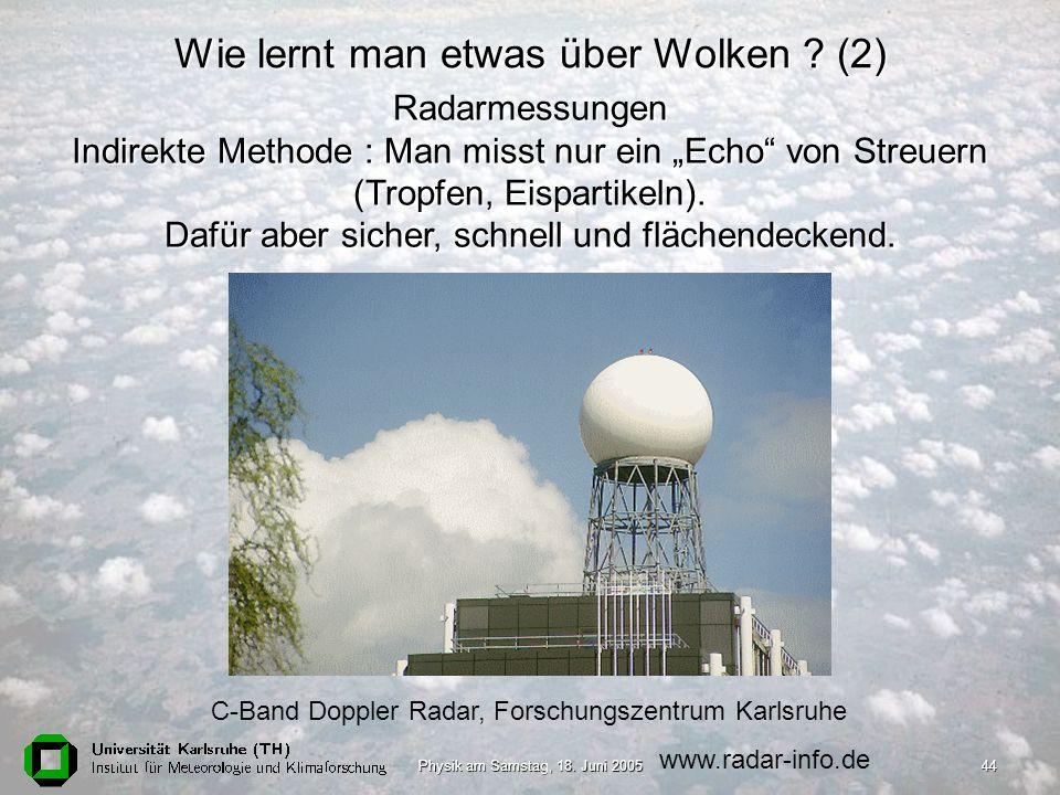 Physik am Samstag, 18. Juni 200544 C-Band Doppler Radar, Forschungszentrum Karlsruhe www.radar-info.de Radarmessungen Indirekte Methode : Man misst nu