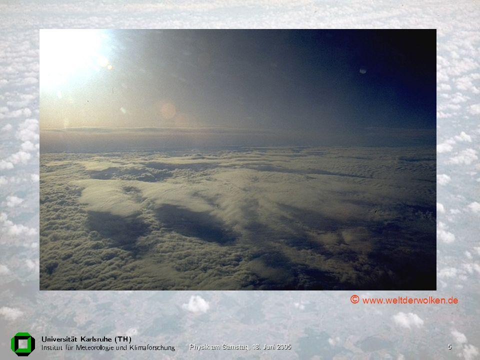 Physik am Samstag, 18.Juni 20056 Welche Rolle spielen Wolken in der Atmosphäre.