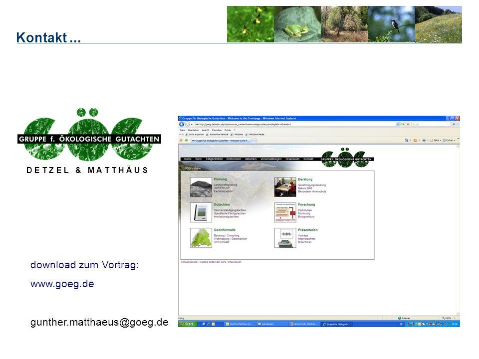 Kontakt... D E T Z E L & M A T T H Ä U S download zum Vortrag: www.goeg.de gunther.matthaeus@goeg.de