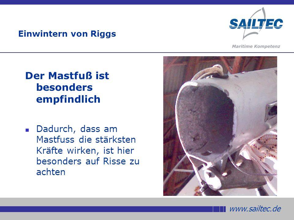 www.sailtec.de Einwintern von Riggs Der Mastfuß ist besonders empfindlich Dadurch, dass am Mastfuss die stärksten Kräfte wirken, ist hier besonders auf Risse zu achten