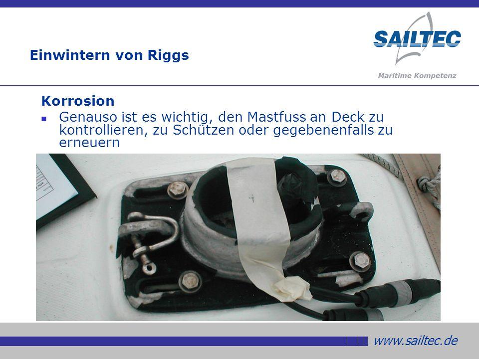 www.sailtec.de Einwintern von Riggs Korrosion Genauso ist es wichtig, den Mastfuss an Deck zu kontrollieren, zu Schützen oder gegebenenfalls zu erneuern