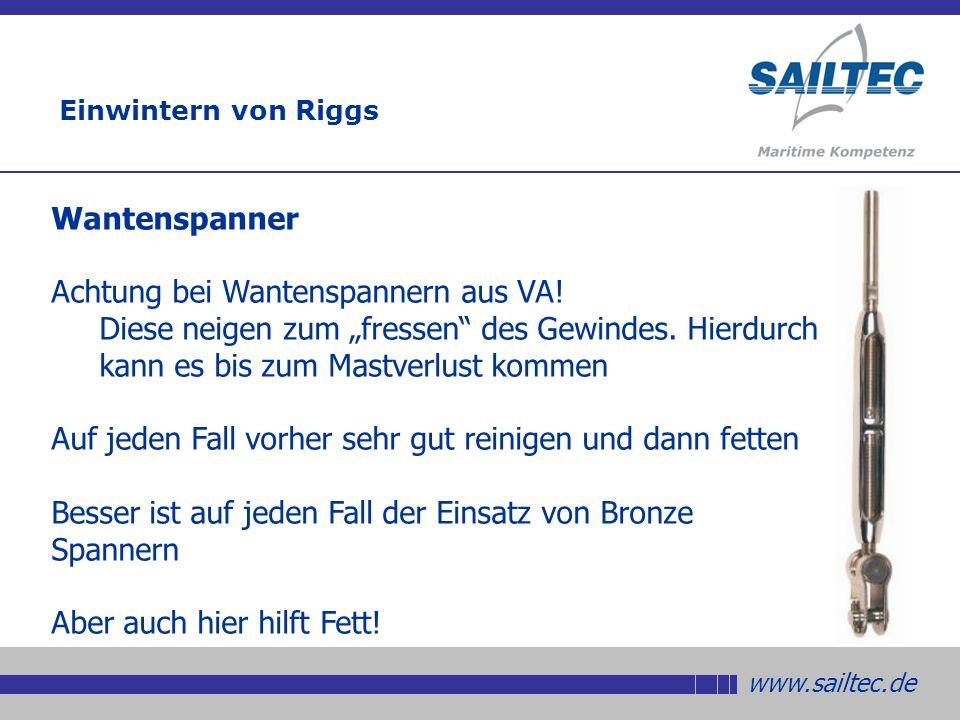 www.sailtec.de Wantenspanner Achtung bei Wantenspannern aus VA.