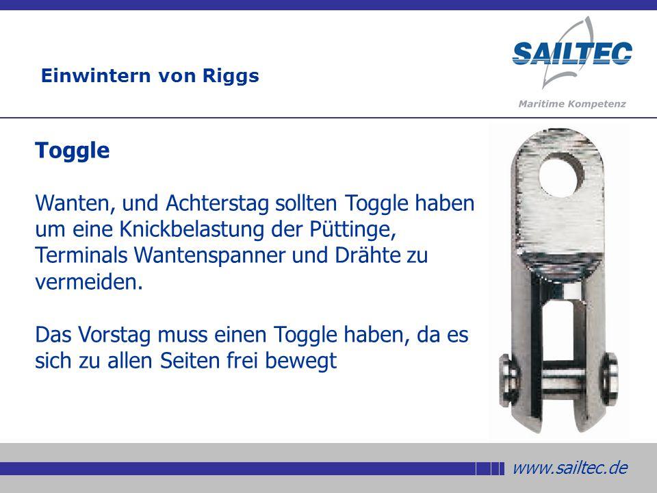 www.sailtec.de Toggle Wanten, und Achterstag sollten Toggle haben um eine Knickbelastung der Püttinge, Terminals Wantenspanner und Drähte zu vermeiden.