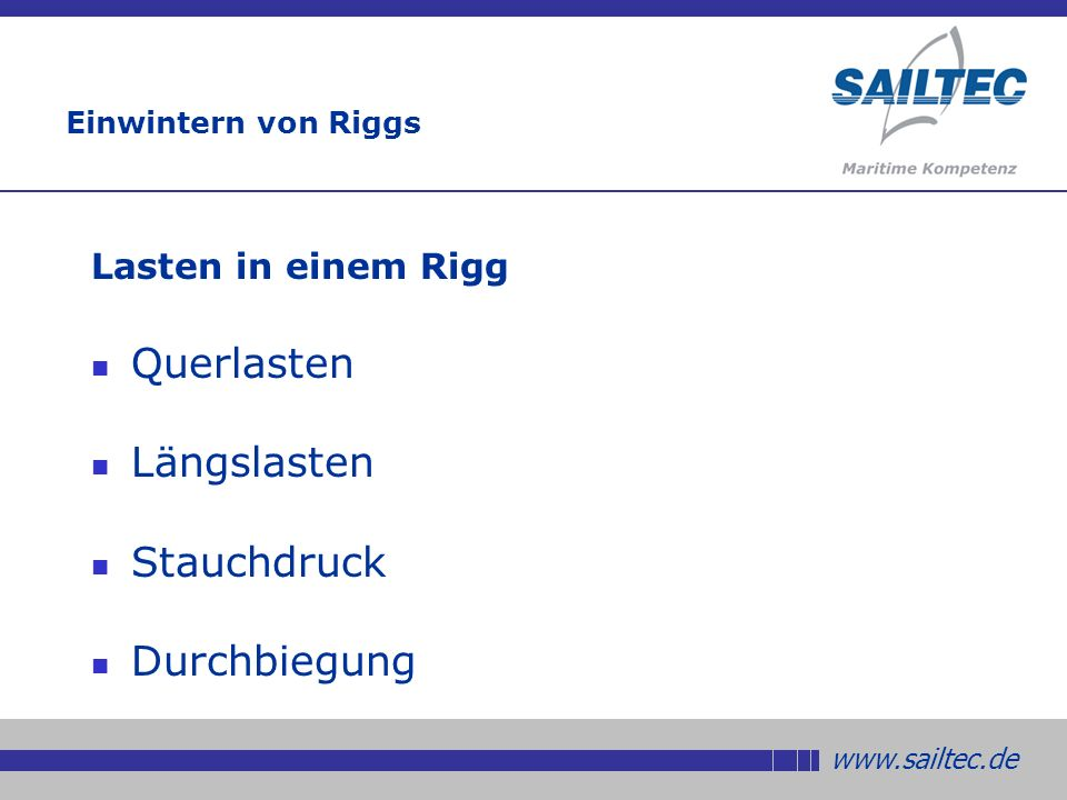 www.sailtec.de Einwintern von Riggs Querlasten in einem Rigg Die größte Last ist direkt oberhalb des Decks Die Last lässt mit zunehmender Höhe nach Am Top ist sie am geringsten