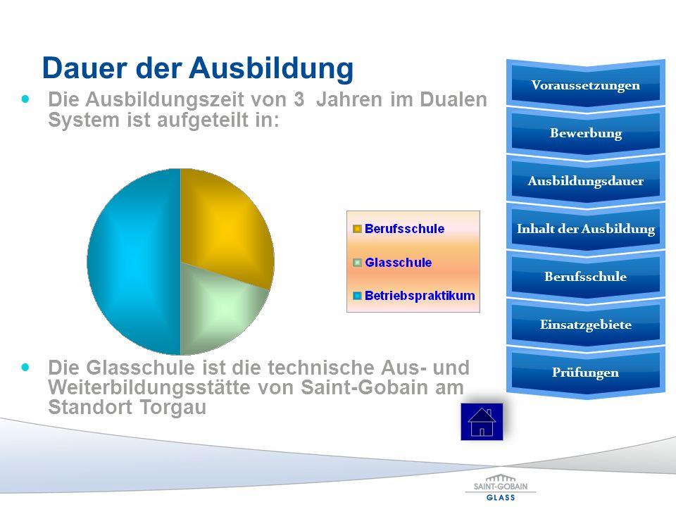 Dauer der Ausbildung Die Ausbildungszeit von 3 Jahren im Dualen System ist aufgeteilt in: Die Glasschule ist die technische Aus- und Weiterbildungsstä