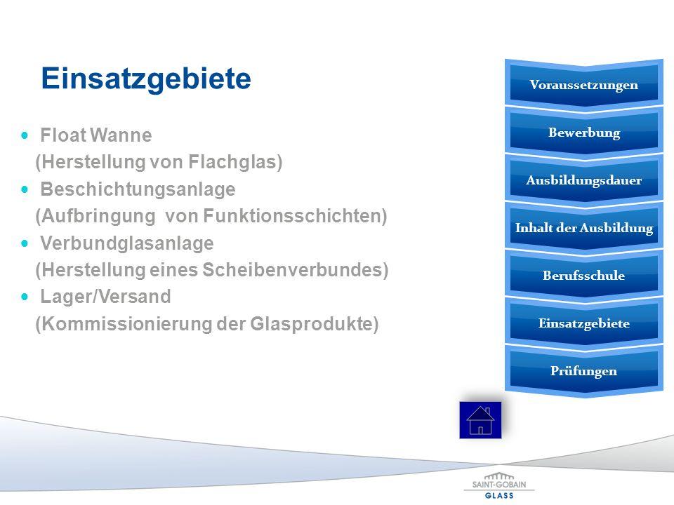 Einsatzgebiete Float Wanne (Herstellung von Flachglas) Beschichtungsanlage (Aufbringung von Funktionsschichten) Verbundglasanlage (Herstellung eines S