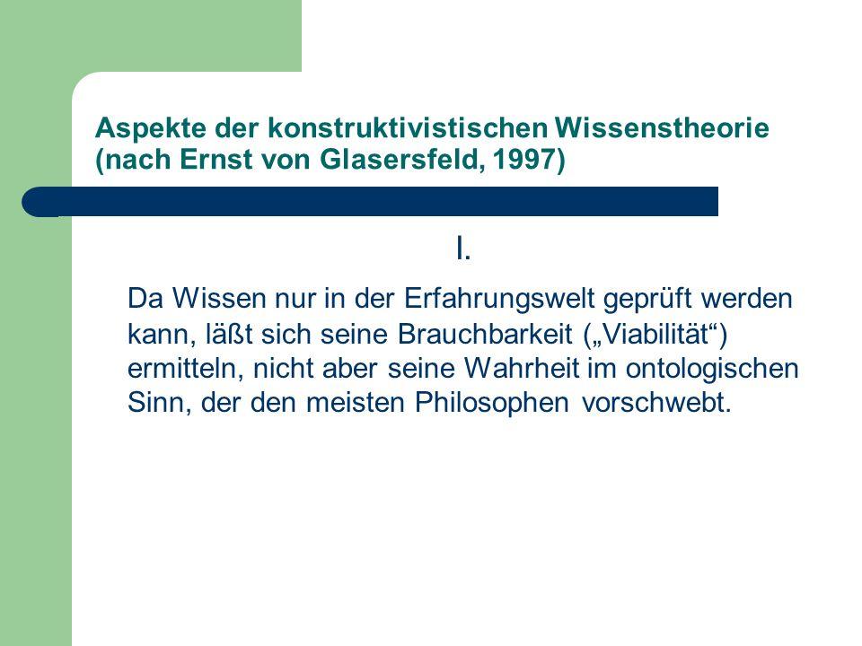 Aspekte der konstruktivistischen Wissenstheorie (nach Ernst von Glasersfeld, 1997) I. Da Wissen nur in der Erfahrungswelt geprüft werden kann, läßt si