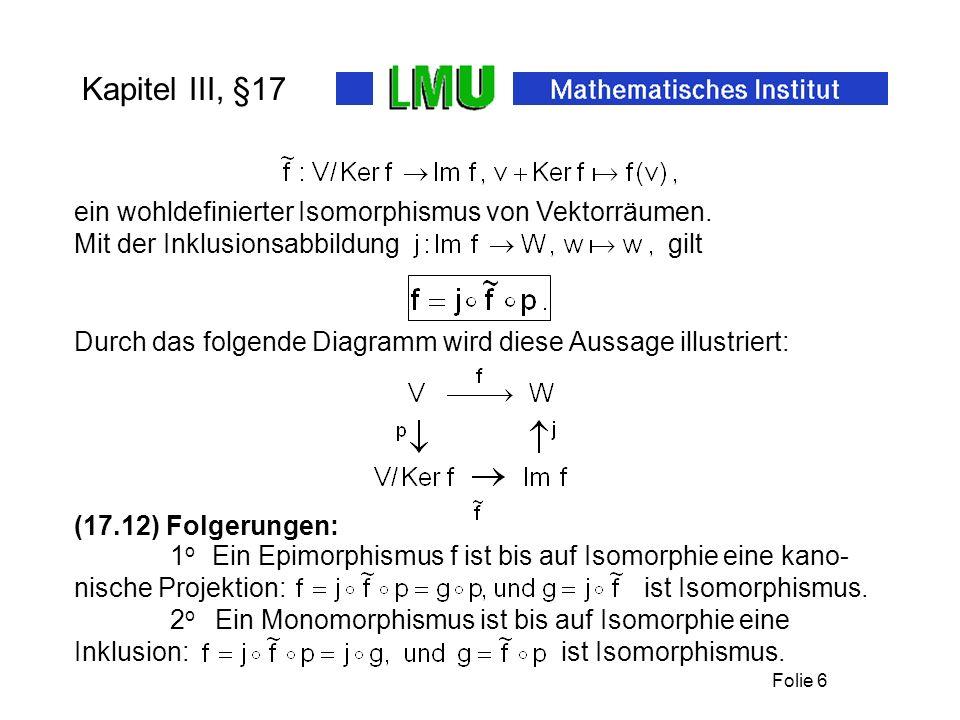 Folie 6 Kapitel III, §17 Durch das folgende Diagramm wird diese Aussage illustriert: (17.12) Folgerungen: Mit der Inklusionsabbildung gilt 1 o Ein Epi