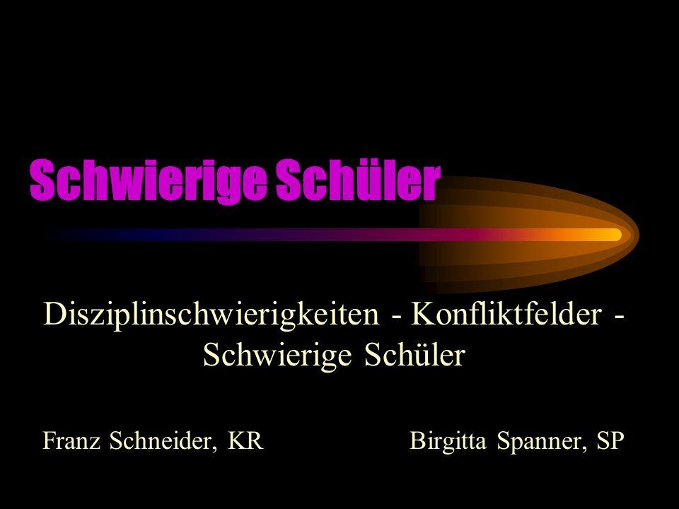 Schwierige Schüler Disziplinschwierigkeiten - Konfliktfelder - Schwierige Schüler Franz Schneider, KR Birgitta Spanner, SP