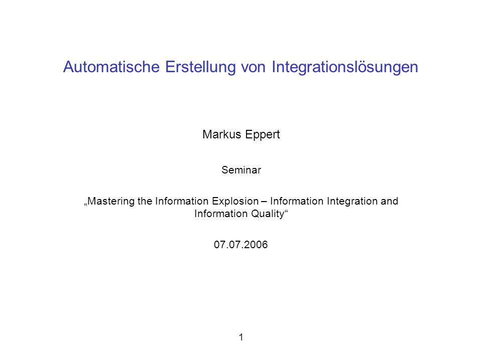 15 SEMEX Abkürzung für SEMantic EXplorer spezielle Anwendungsdomäne: Personal Information Management (PIM) Extrahierung von Zusammenhängen verschiedener Daten aus unterschiedlichen Anwendungen Verwenden von Attributen, Schlüsseln und Fremdschlüsseln ähnlich zu SQL