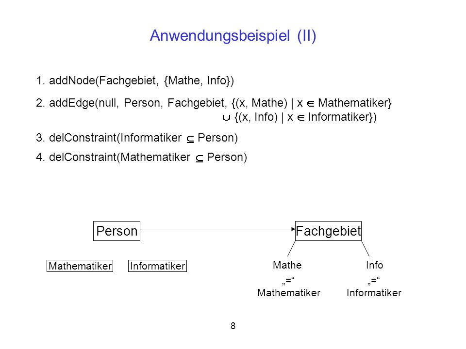 8 Anwendungsbeispiel (II) Person MathematikerInformatiker 1. addNode(Fachgebiet, {Mathe, Info}) 2. addEdge(null, Person, Fachgebiet, {(x, Mathe) | x M