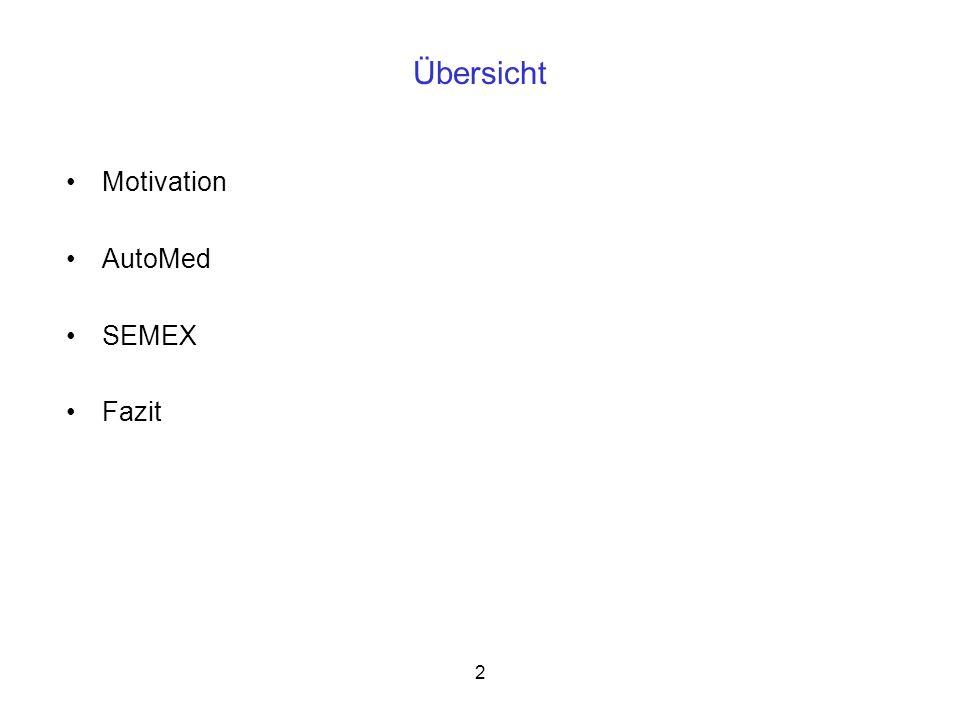 26 On-the-fly-Integration mit SEMEX Unterstützung des Benutzers beim Datenimport durch folgende Werkzeuge: Datenvorbereitung und Wrapping: Transformiert die Daten in eine strukturierte Form, mit der SEMEX weiterarbeiten kann Schema Matching und Mapping: Ermöglicht die Beschreibung der semantischen Zusammenhänge zwischen Datenquelle und Domänenmodell Datenimport: Importiert Daten von der externen Datenquelle nach dem Schema Matching Reference Reconciliation Datenanalyse und Zusammenfassung (optional): Sucht Muster aus den importierten Daten, die für den Benutzer von Interesse sein könnten