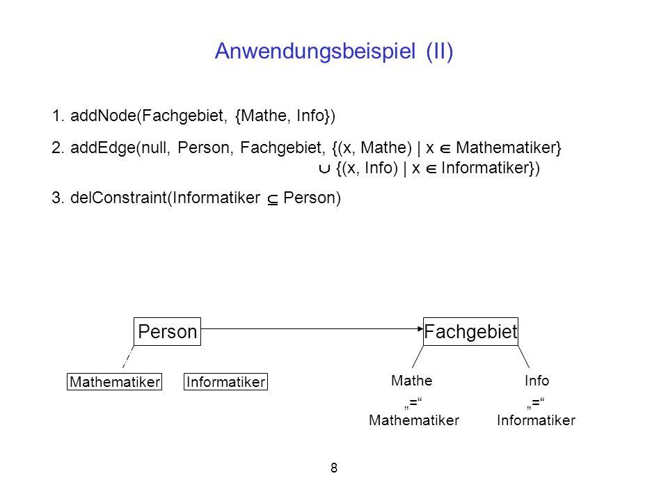 13 Vertauschen vom Transformationsschritt t(i) mit t(i+1) Wichtig: Bei einem Tausch darf t(i+1) nicht von Konstrukten abhängen, die erst durch t(i) eingeführt wurden Beispiel:t(i): renameNode(Alt, KeinTausch) t(i+1): delNode(KeinTausch, q) kein Tausch möglich, da t(i+1) ein Konstrukt löschen würde, das (noch) nicht existiert Genaue Regeln zum Tauschen werden ebenfalls durch die Vor- und Nachbedingungen festgelegt