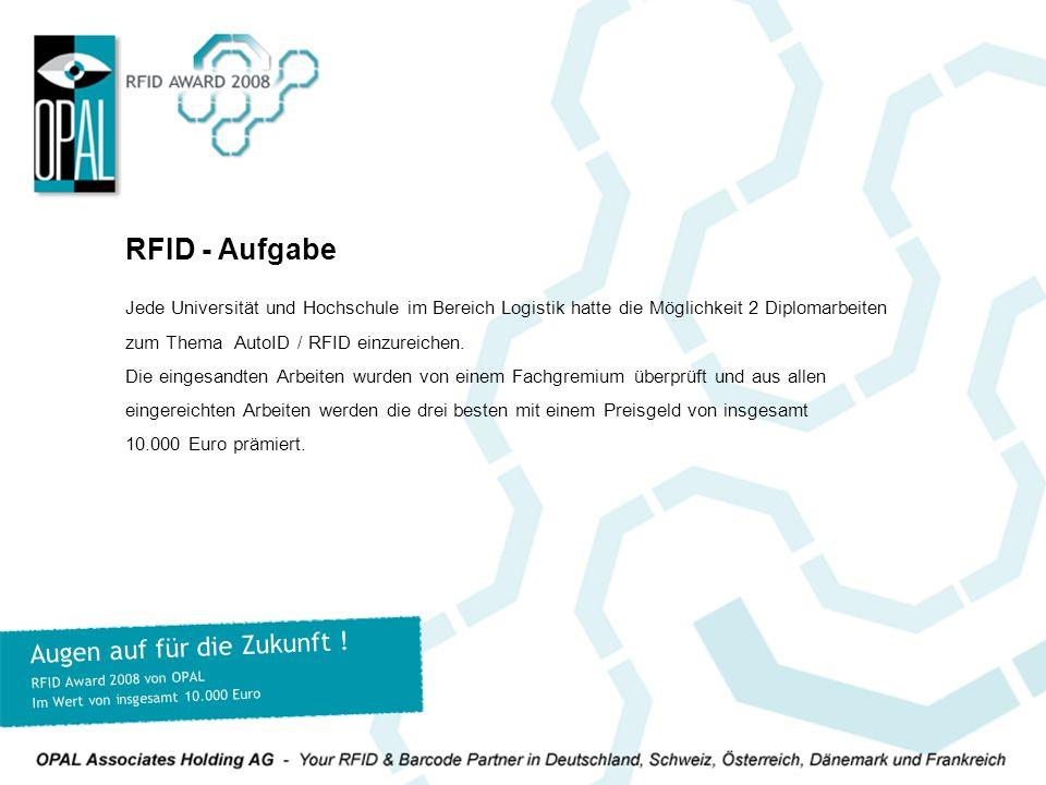 Jede Universität und Hochschule im Bereich Logistik hatte die Möglichkeit 2 Diplomarbeiten zum Thema AutoID / RFID einzureichen. Die eingesandten Arbe