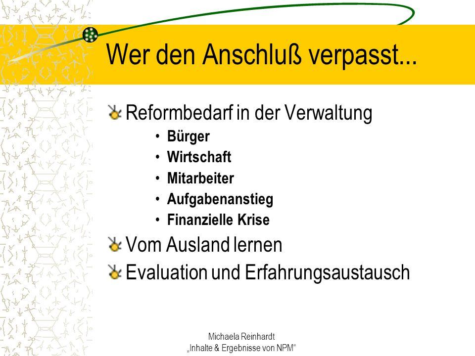 Michaela Reinhardt Inhalte & Ergebnisse von NPM Wer den Anschluß verpasst...