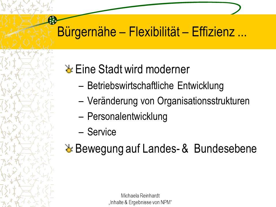 Michaela Reinhardt Inhalte & Ergebnisse von NPM Bürgernähe – Flexibilität – Effizienz...