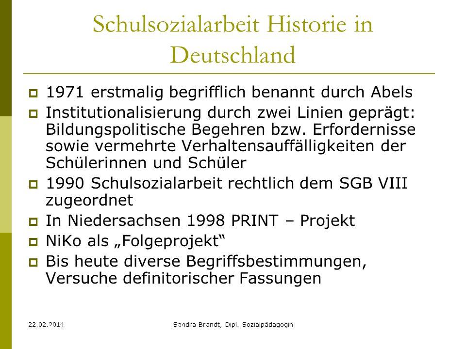 22.02.2014Sandra Brandt, Dipl. Sozialpädagogin Schulsozialarbeit Historie in Deutschland 1971 erstmalig begrifflich benannt durch Abels Institutionali