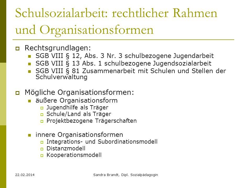 22.02.2014Sandra Brandt, Dipl. Sozialpädagogin Schulsozialarbeit: rechtlicher Rahmen und Organisationsformen Rechtsgrundlagen: SGB VIII § 12, Abs. 3 N