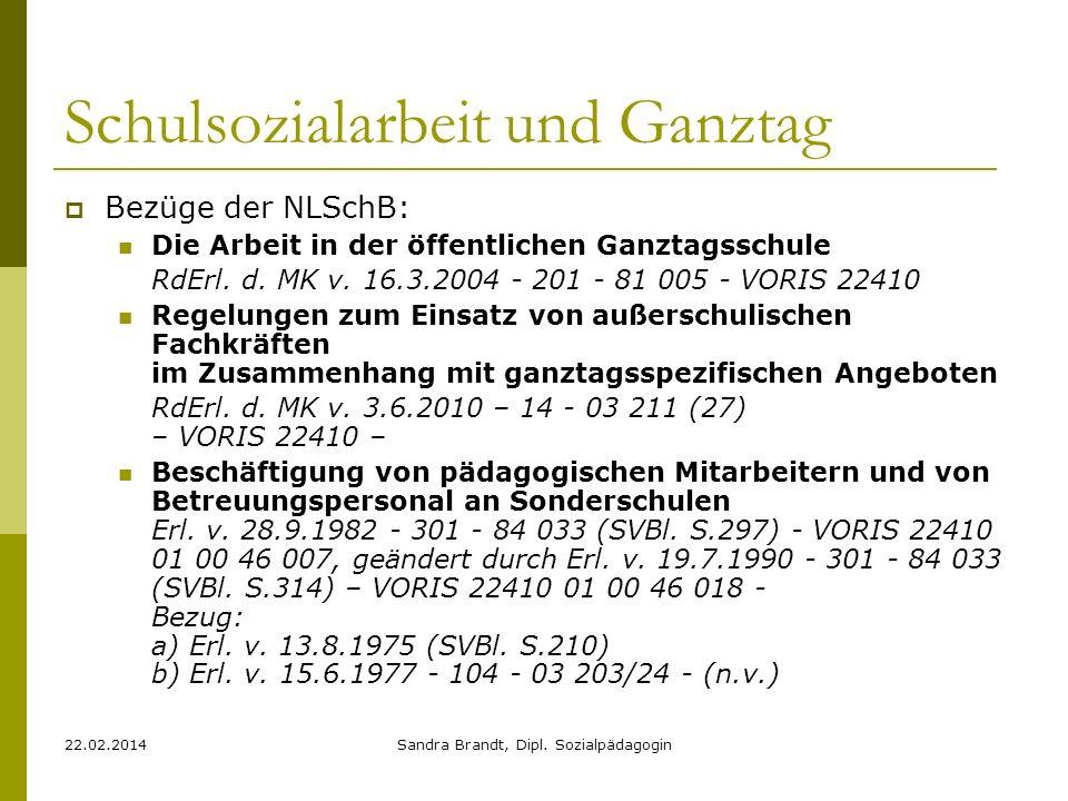 22.02.2014Sandra Brandt, Dipl. Sozialpädagogin Bezüge der NLSchB: Die Arbeit in der öffentlichen Ganztagsschule RdErl. d. MK v. 16.3.2004 - 201 - 81 0