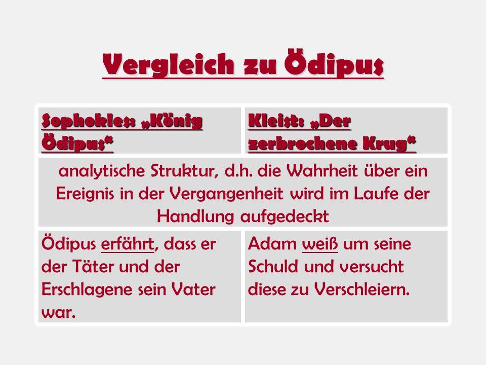 Vergleich zu Ödipus Kleist: Der zerbrochene Krug Sophokles: König Ödipus analytische Struktur, d.h. die Wahrheit über ein Ereignis in der Vergangenhei