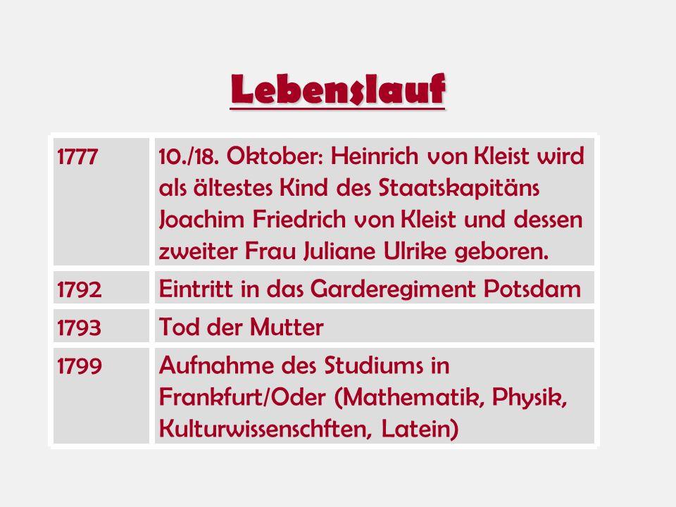 Lebenslauf Tod der Mutter1793 Aufnahme des Studiums in Frankfurt/Oder (Mathematik, Physik, Kulturwissenschften, Latein) 1799 Eintritt in das Garderegi