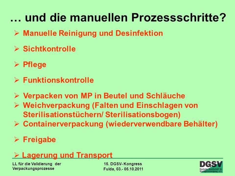 LL für die Validierung der Verpackungsprozesse 15. DGSV- Kongress Fulda, 03.- 05.10.2011 … und die manuellen Prozessschritte? Manuelle Reinigung und D