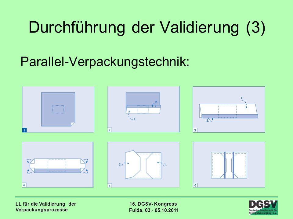 LL für die Validierung der Verpackungsprozesse 15. DGSV- Kongress Fulda, 03.- 05.10.2011 Durchführung der Validierung (3) Parallel-Verpackungstechnik: