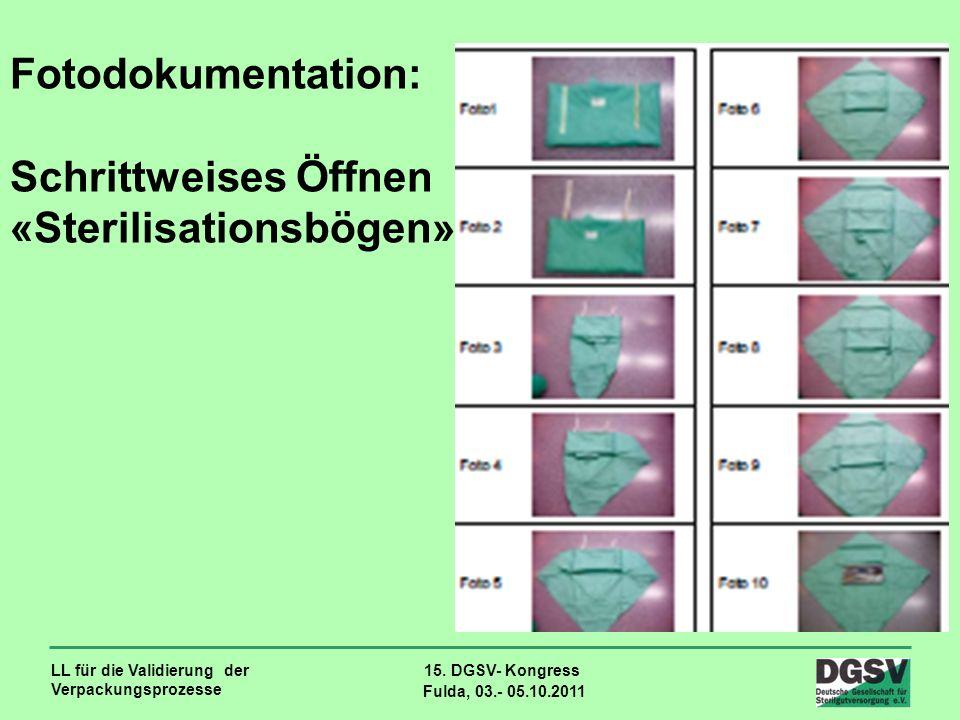 LL für die Validierung der Verpackungsprozesse 15. DGSV- Kongress Fulda, 03.- 05.10.2011 Fotodokumentation: Schrittweises Öffnen «Sterilisationsbögen»