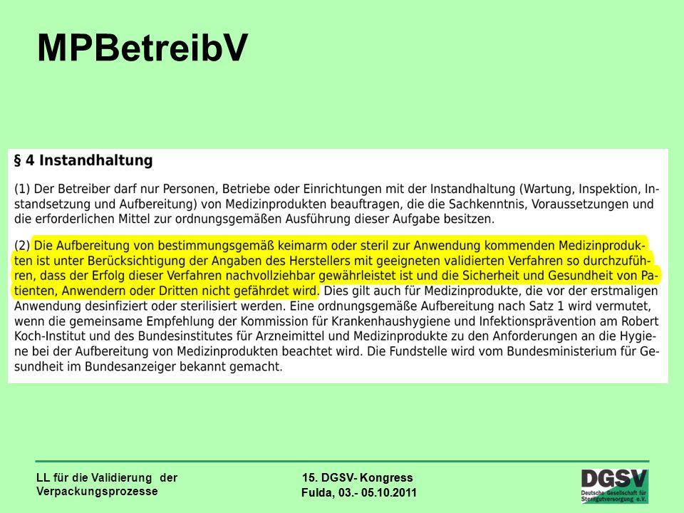 LL für die Validierung der Verpackungsprozesse 15. DGSV- Kongress Fulda, 03.- 05.10.2011 15. DGSV- Kongress Fulda, 03.- 05.10.2011 MPBetreibV