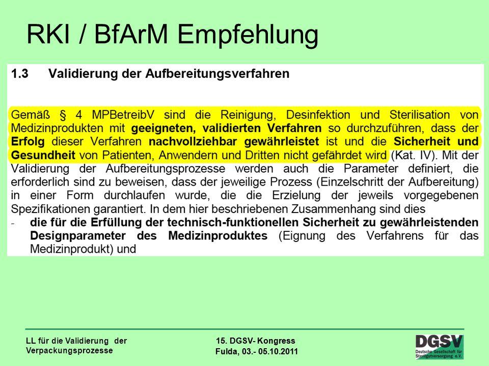 LL für die Validierung der Verpackungsprozesse 15. DGSV- Kongress Fulda, 03.- 05.10.2011 15. DGSV- Kongress Fulda, 03.- 05.10.2011 RKI / BfArM Empfehl